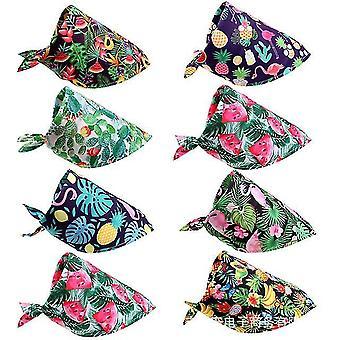 8Pcs dog pet summer bandana tropic pattern dog bandana triangle dog bib scarf