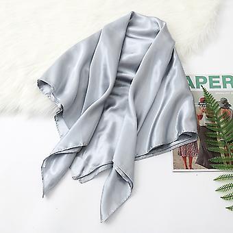 35in Cetim Cabeça lenços vintage quadrado pele de seda sensação de cetim cinza prata cinza