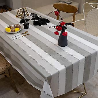 Rechteckige Tischdecke, Anti-Fouling kann dreifarbig gestreifte Tischdecke sein, Küchentisch Dekoration Baumwolle und Leinen Tischdecke (140 * 180cm) Grau