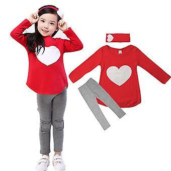 Kid Girl Heart hosszú ujjú felső nadrág fejpánt set alkalmi felszerelés ruhák