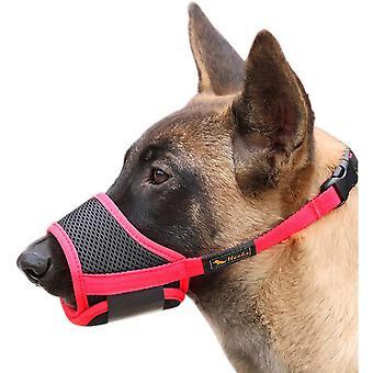 Pet Fornisce museruola per cani, con fibbia regolabile in rete traspirante, grigio anti-abbaiare e masticare (c)