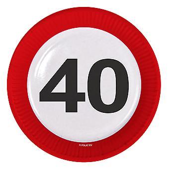 Il numero di segno di traffico della piastra di partito compleanno 40 piastre 8 pz carta festa piastre