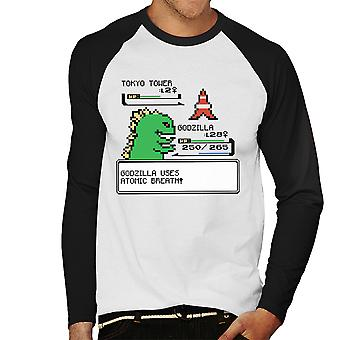 Pokemon Godzilla I Choose You Men's Baseball Long Sleeved T-Shirt