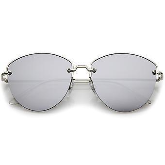Moderne Metal Nose Bridge gespiegeld vlakke Lens semi-montuurloze zonnebril 60 mm