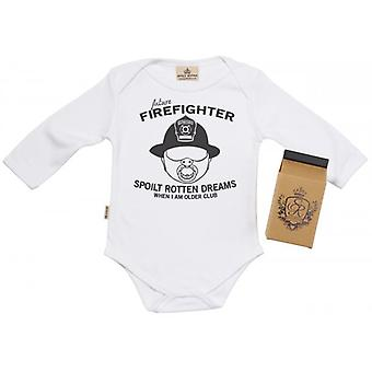 Spoilt Rotten SR Dreams Future Firefighter Babygrow 100% Organic Cotton