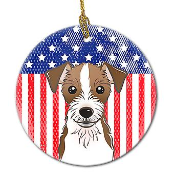 American Flag and Jack Russell Terrier Ceramic Ornament