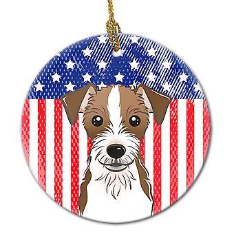 زخرفة السيراميك العلم وجاك راسل الكلب الأمريكي