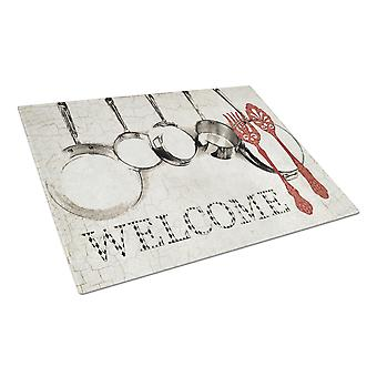 Pots and Pans Welcome Glass Cutting Board Large Size