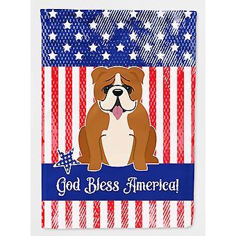 愛国心が強い米国の英語ブルドッグの赤白い旗庭サイズ