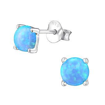 Runde - 925 Sterling sølv Opal og Semi ædle øret knopper - W23621x