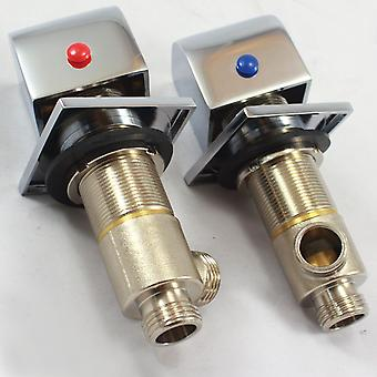 Square Deck Mounted Bath Tap Set - Hot and Cold Taps - Single Feed Valves