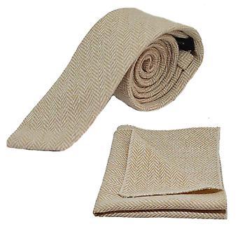 Gold & Cream Herringbone Tie & Pocket Square Set