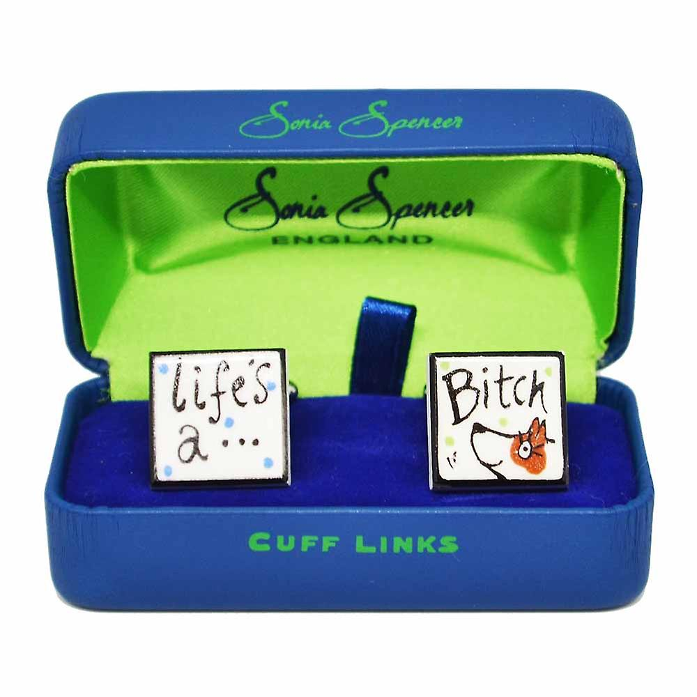 Sonia Spencer Life's A Bitch Cufflinks with Brown Dog, in Presentation Gift Box. Hand painted