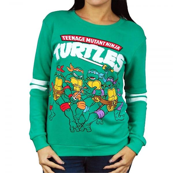Teenage Mutant Ninja Turtles Womens Retro Teenage Mutant Ninja Turtles Sweatshirt vert