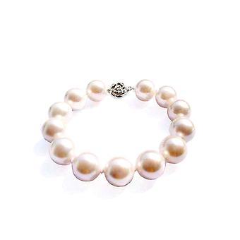 Weiße kultivierte Perlen und Verschluss 925 Silber Blume Armband
