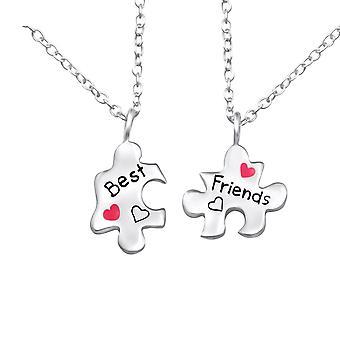 لغز صديقات أفضل أصدقاء-قلادات فضة 925-W26391x