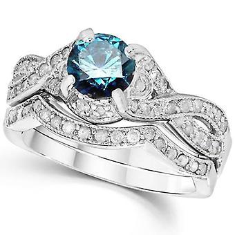 1 1 / 2ct blå diamant förlovningsring Infinity Ställ 14K vitt guld