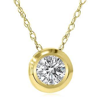 Gouden 1 / 6ct ronde Diamond Bezel Solitaire hanger 14K