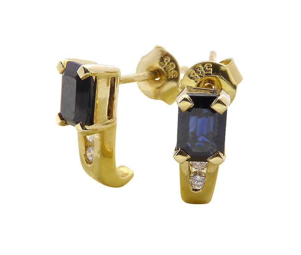 Geel gouden oorstekers met saffier en diamanten