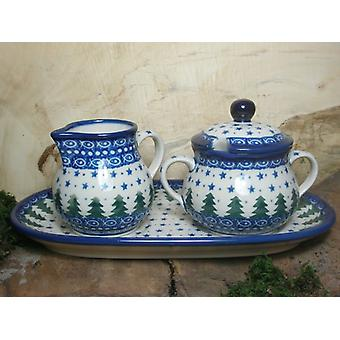 Milk and sugar on a tray, unique 57 - polish pottery - BSN 15074