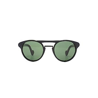 Moncler Black & Green Double Bridge Round Sunglasses