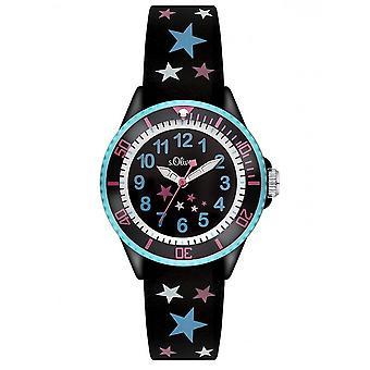 s. Oliver hodinky silikónová stuha hodinky deti SO-3178-PQ