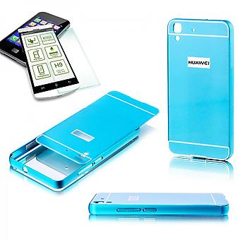 Aluminium bumper 2 piece blue + 0.3 mm H9 tempered glass for Huawei Y6