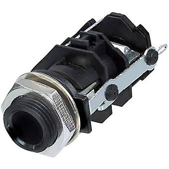 Rean AV RJ3VI-CON 6.35 mm audio jack Socket, vertical vertical Number of pins: 3 Stereo Black 1 pc(s)