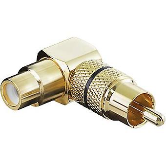 Goobay 11590 RCA Audio/phono Adapter [1x RCA plug (phono) - 1x RCA socket (phono)] Gold, Black
