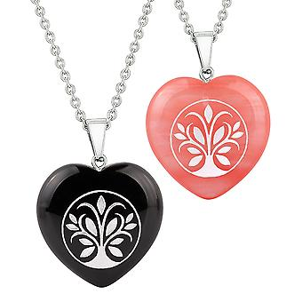 Heart Amulets Tree of Life Magical Love Couples Best Friends Agate Simulated Quartz Necklaces