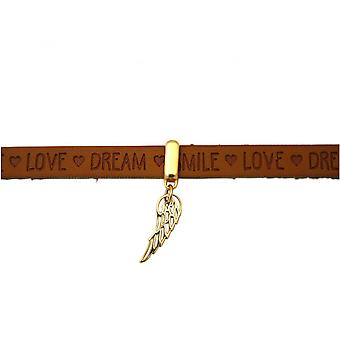 -Gold plated 925 Silver - gold plated - bracelet - protection angel - wing Brown - magnetic lock - WISHES-
