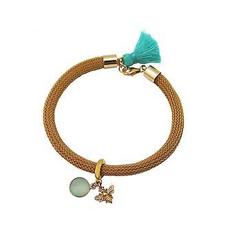Women - bracelet - 925 Silver - gold plated - gemstone - Aqua chalcedony - BEE - bee - Green - Brown
