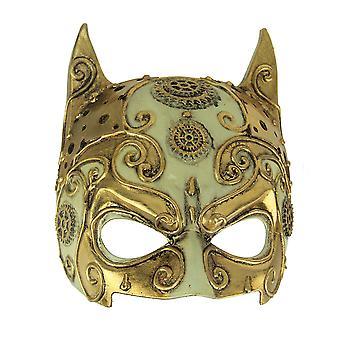 Fancy Gold Adult Halloween Steampunk Devil Mask