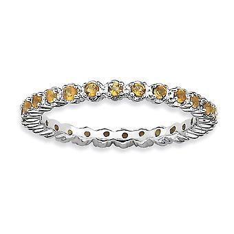 925 sterling silver polerad stift set mönstrade rodium-pläterade stapelbara uttryck Citrin Ring-Ring storlek: 5 till 10