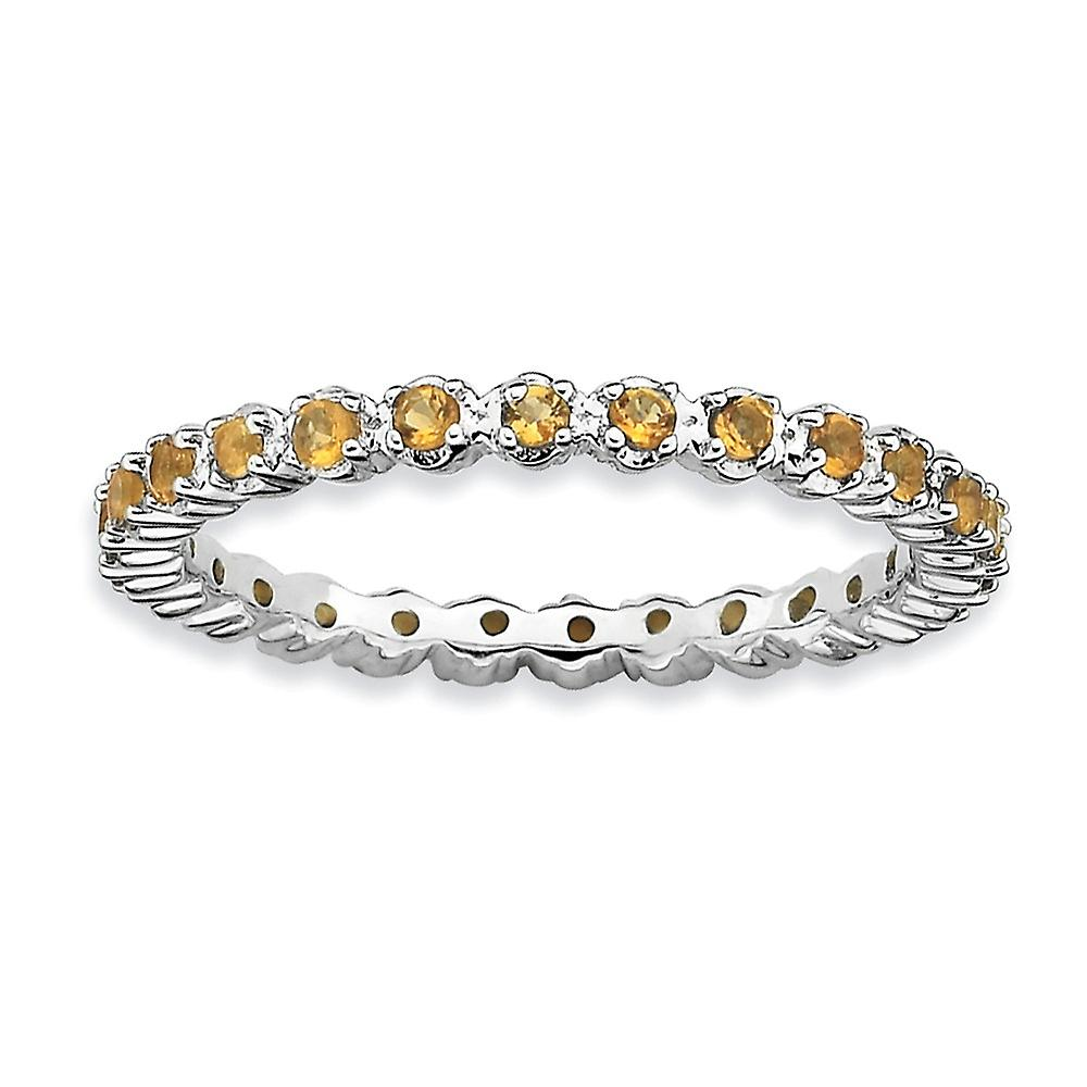 925 Sterling Silver Polished Prong set Patterned Rhodium-plated Stackable Expressions Citrine Ring - Ring Size: 5 to 10