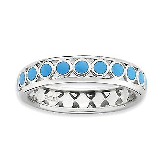 4.5mm 925 Sterling Silver Blue Enamel Rhodium plated Stackable Expressions Polished Blue Circles Enameled Ring Jewelry G