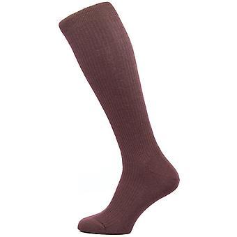 Pantherella Naish Rib Over the Calf Merino Wool Socks - Maroon