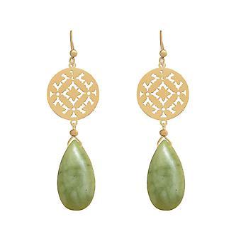 Orecchini da donna GEMSHINE Mandalas Green Jade. Argento, oro placcato o rosa