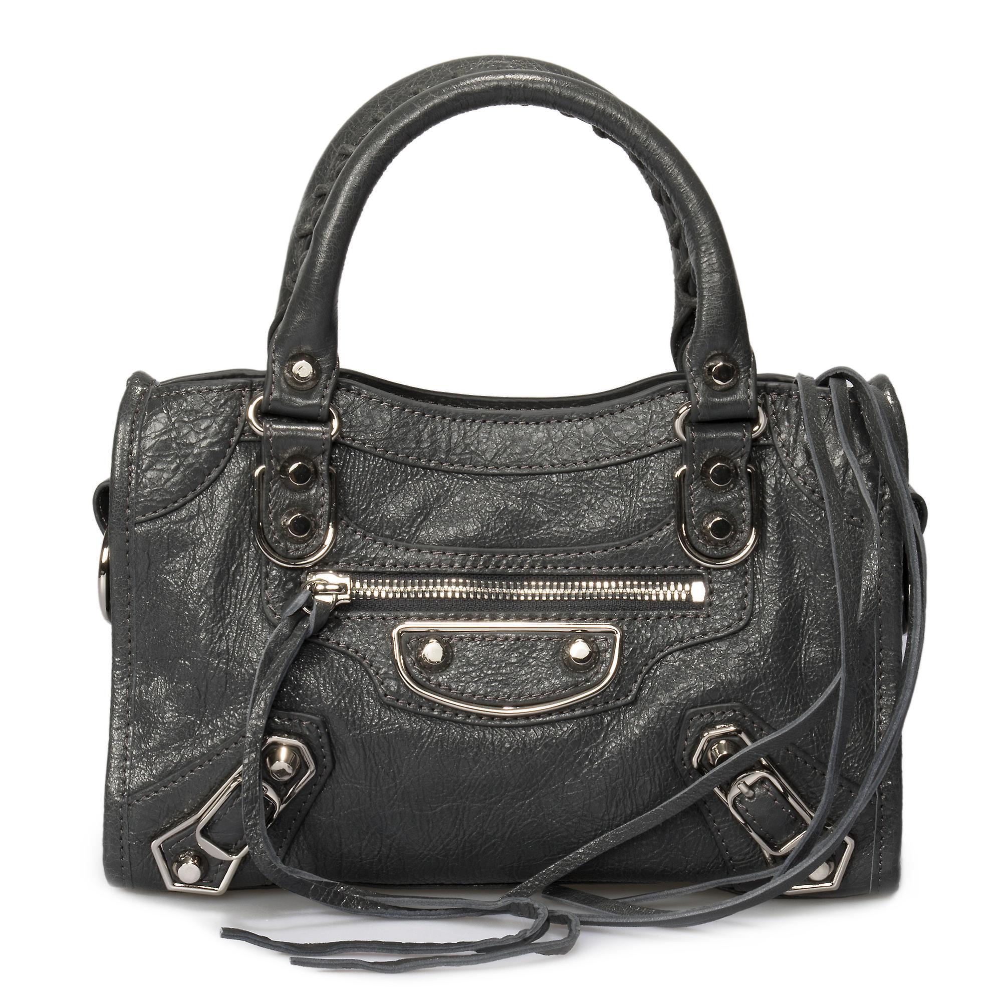 Balenciaga Classic metallic Edge City väska | Grå med silver Hardware | Mini
