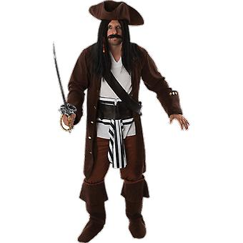 Mens High Seas Pirate Captain Fancy Dress Costume Adult Halloween Outifts