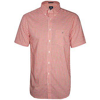 GANT Coral Check Regular Short-Sleeve Shirt