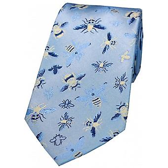 Posh and Dandy Bee Patterned Silk Tie - Sky Blue