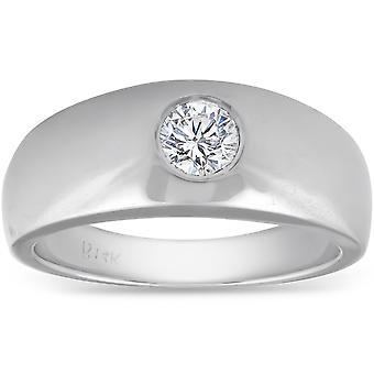 Mens 14k White Gold 1/2ct Solitaire Bezel Round Diamond Wedding Anniversary Ring