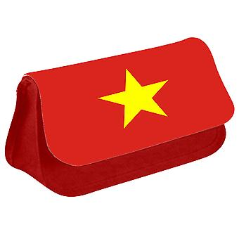 Vietnam Flag Printed Design Pencil Case for Stationary/Cosmetic - 0194 (Red) by i-Tronixs