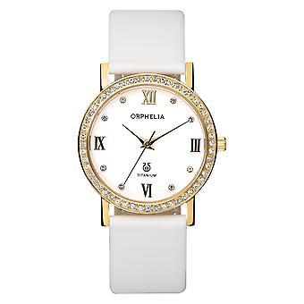 ORPHELIA Damen analoge Uhr Provence weiß Leder 122-1722-11