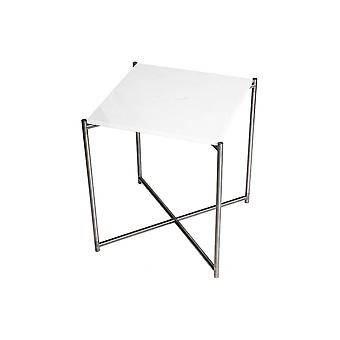 Gillmore White Marble Square Side Table With Gun Metal Cross Base