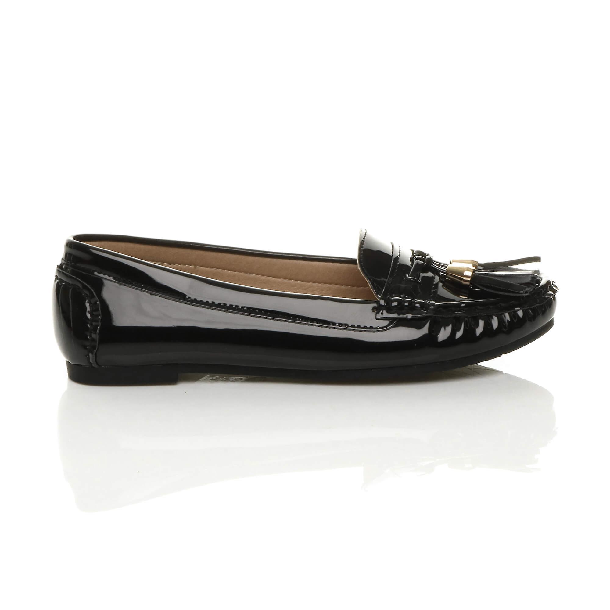 Ajvani kvinner flat lav hæl dusk smart casual arbeid mokkasiner loafers sko
