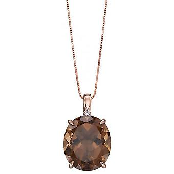 Elements Gold Oval Smokey Quartz Pendant - Brown/Rose Gold