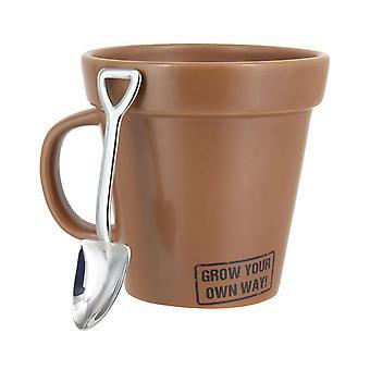 Kasvata oma tapa kuppi keraamisella lusikalla, ruskealla, lahja pakkauksessa