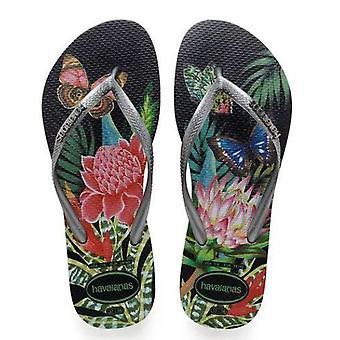 Tropical Havaianas, Black Straps, Metallic Logo Slim Style